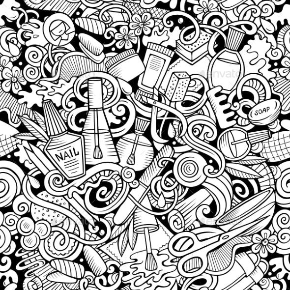 Manicure Hand Drawn Doodles Seamless Pattern