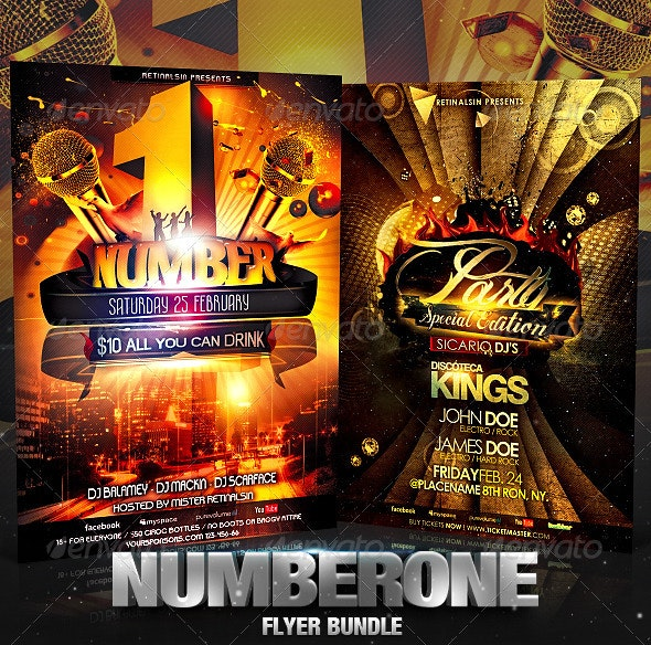 NumberOne Flyer Bundle - Clubs & Parties Events