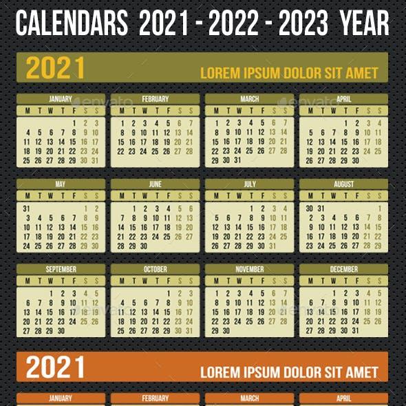 Calendars  2021 - 2022 - 2023 Year