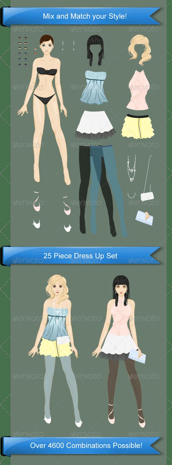 Stylish Dress Up Pack #1 - People Illustrations