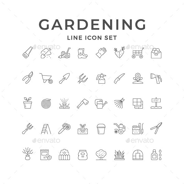 Set Line Icons of Gardening