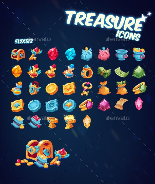 Treasure Icons Pack - Miscellaneous Game Assets
