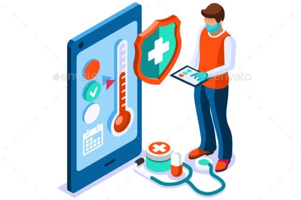Covid Diagnosis Medical Concept - Vectors