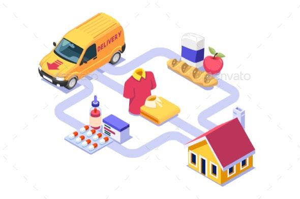 Deliver Essentials at Home Infographic - Vectors