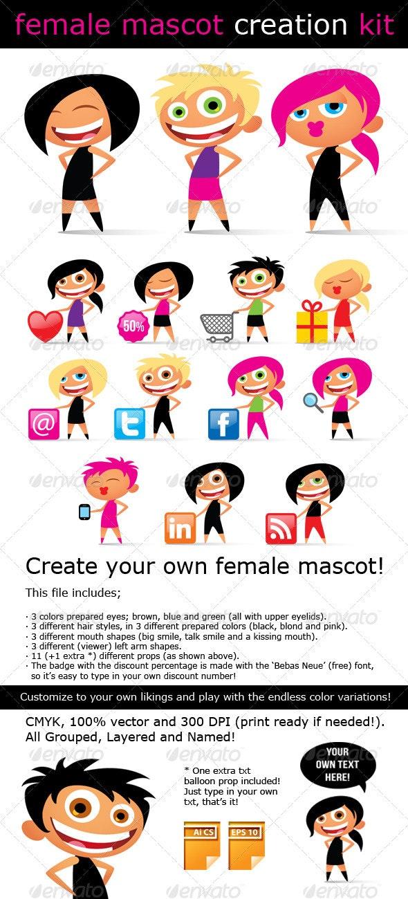 Female Mascot Creation Kit - People Characters