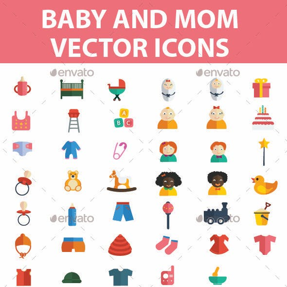 Baby and Mom Icons Set