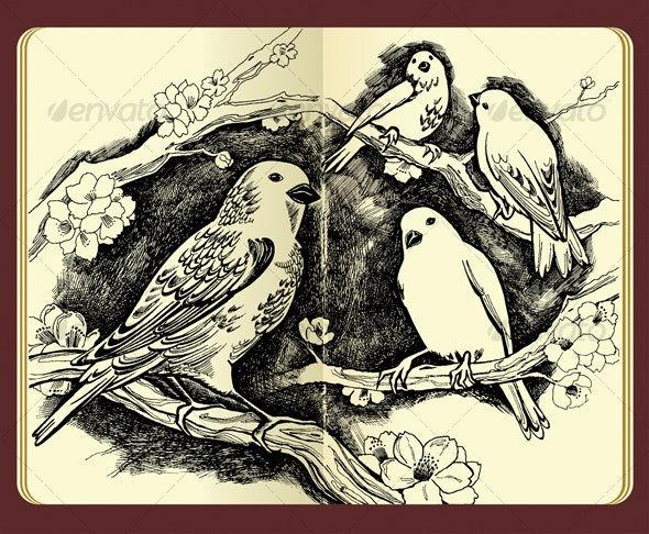 Spring drawing of birds and flowers - Seasons/Holidays Conceptual