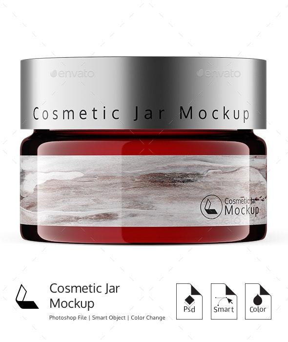 Cosmetic Glass Amber Jar Mockup - Product Mock-Ups Graphics
