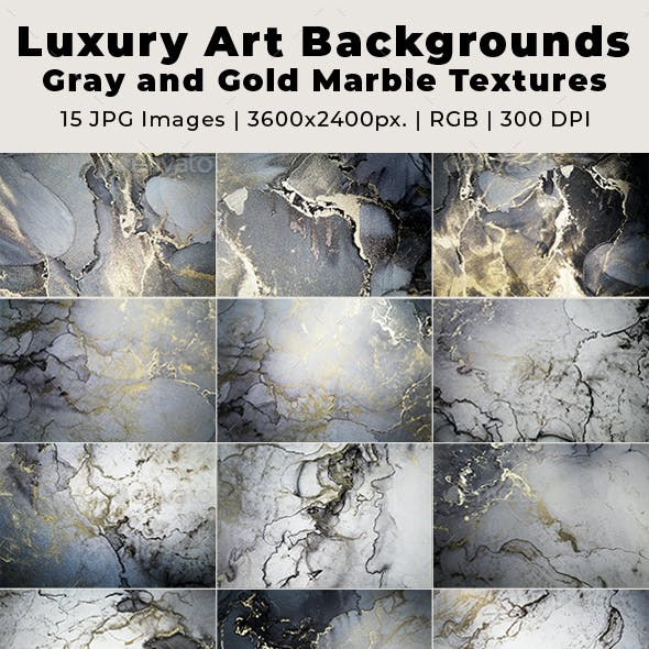 Luxury Art Background Gray and Gold Marble