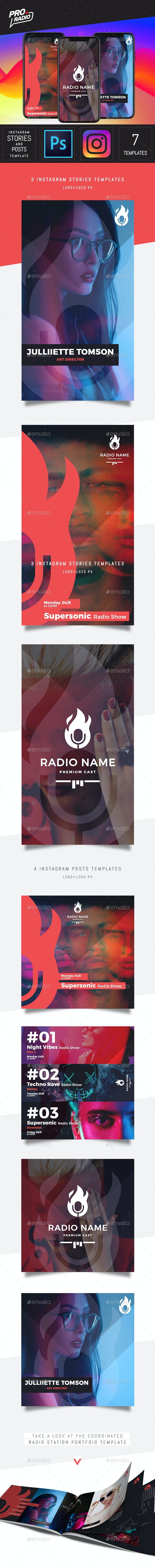 Radio Station Instagram Post and Stories Template - PSD - Social Media Web Elements