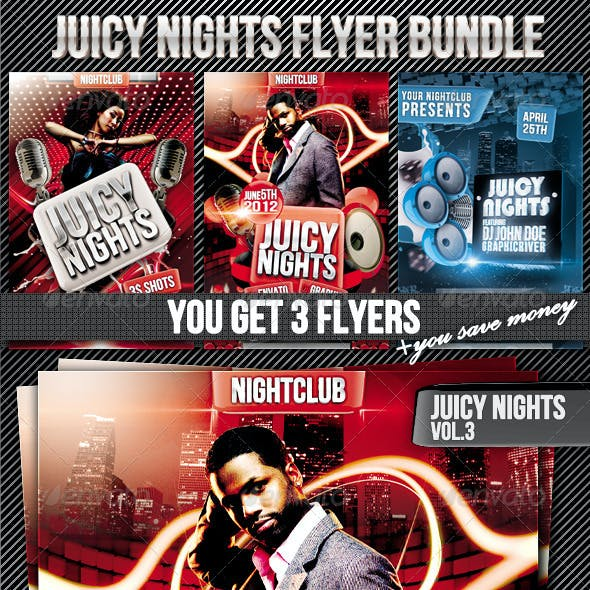 Juicy Nights Flyer Template Bundle