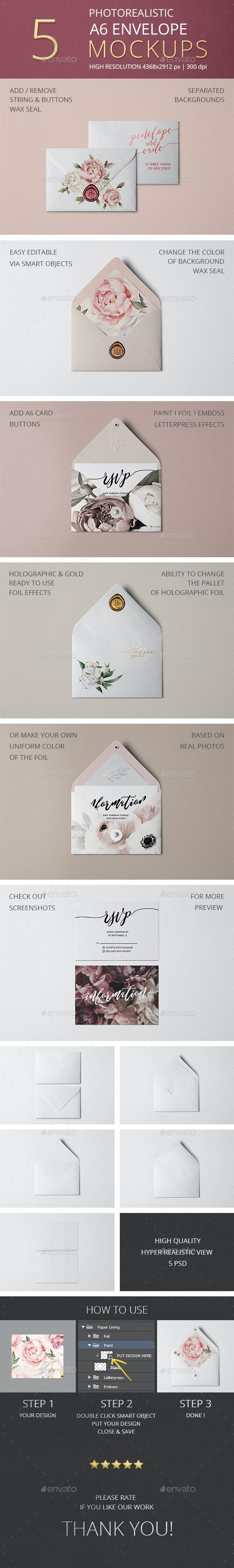 Photorealistic White Envelope Mockup/ A6 - Stationery Print