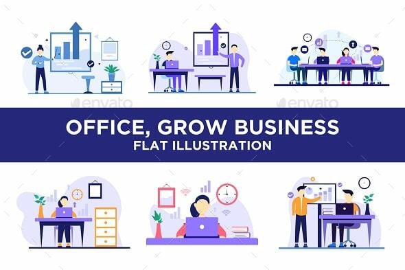 Pack of Office, Business Presentation, Team Working Flat Design Style - Concepts Business