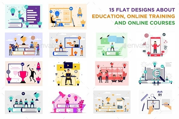 Pack of Education, Online Training Courses Flat Design Style - Concepts Business