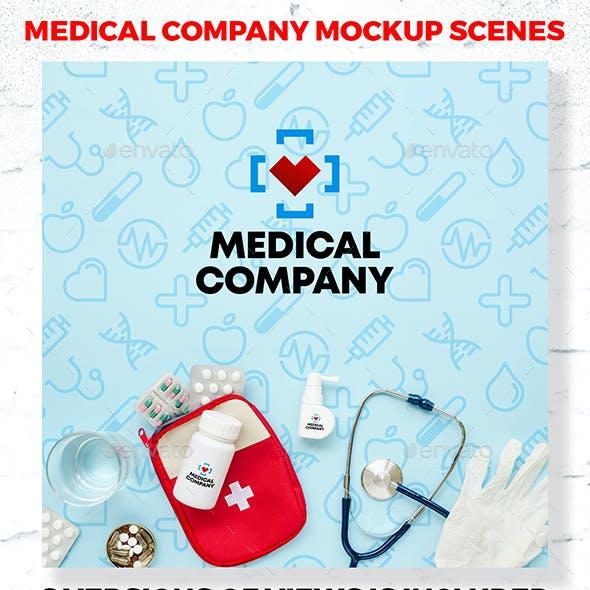 Branding Medical Company Mockup Scenes