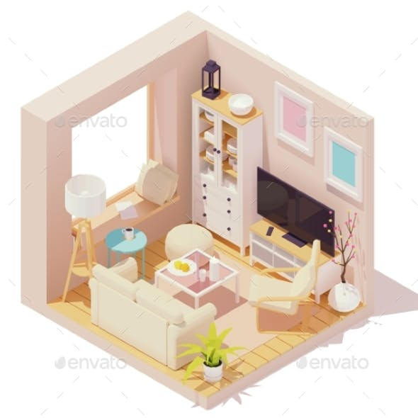 Vector Isometric Living Room Interior