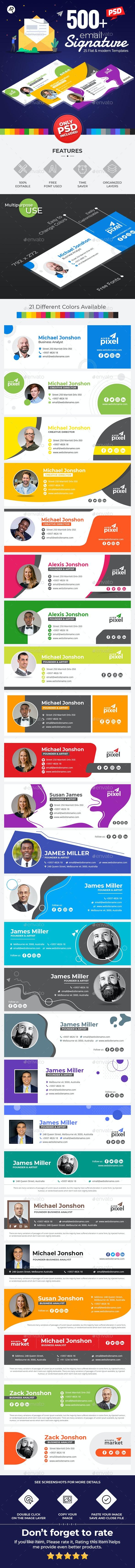 525 Professional E-Signature Templates - Social Media Web Elements