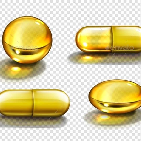 Gold Oil Capsules Vitamin Round and Oval Pills