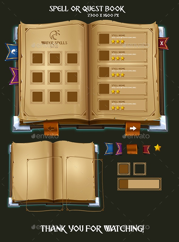 Spell or Quest Book - User Interfaces Game Assets