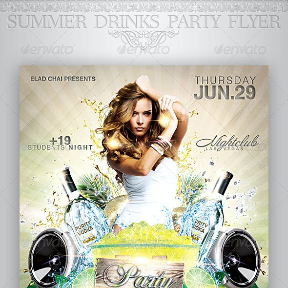 Summer Drinks Event Party Flyer