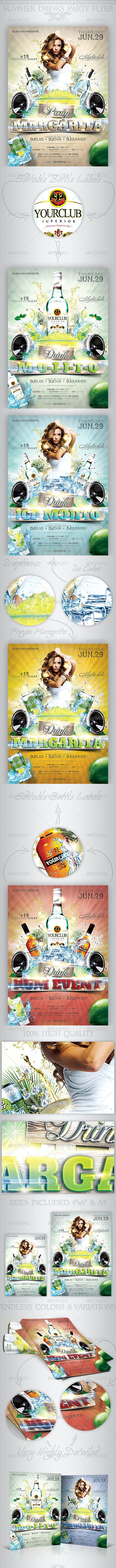 Summer Drinks Event Party Flyer - Clubs & Parties Events