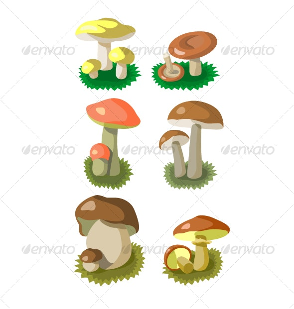 Mushrooms color set 002 - Organic Objects Objects