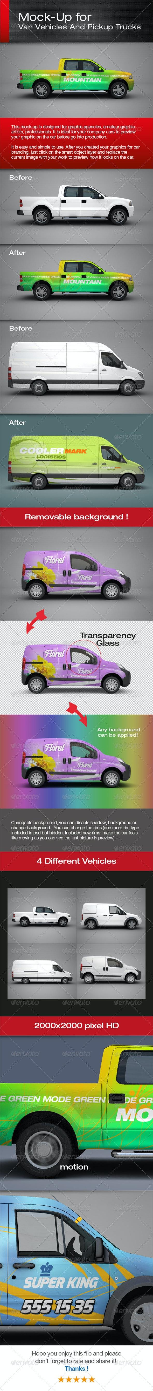 Van Vehicles And Pickup Trucks Mock-Up - Vehicle Wraps Print