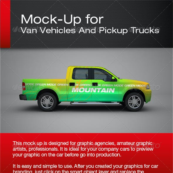 Van Vehicles And Pickup Trucks Mock-Up