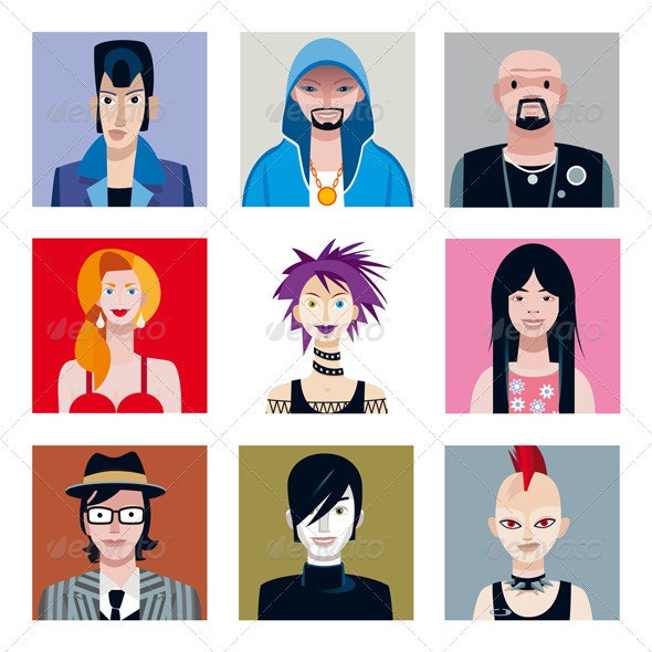 Urban Tribes Avatars Set - People Characters