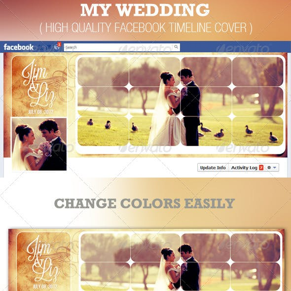 My Wedding Facebook Timeline Cover Template
