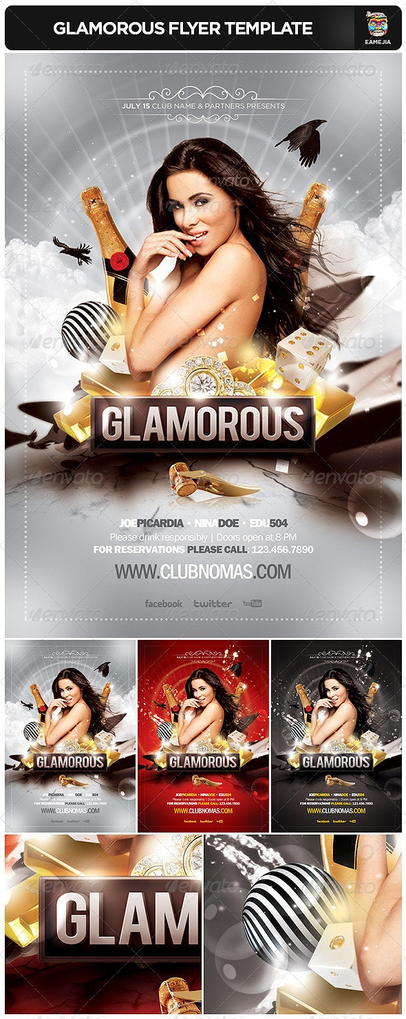 Glamorous Flyer Template - Clubs & Parties Events