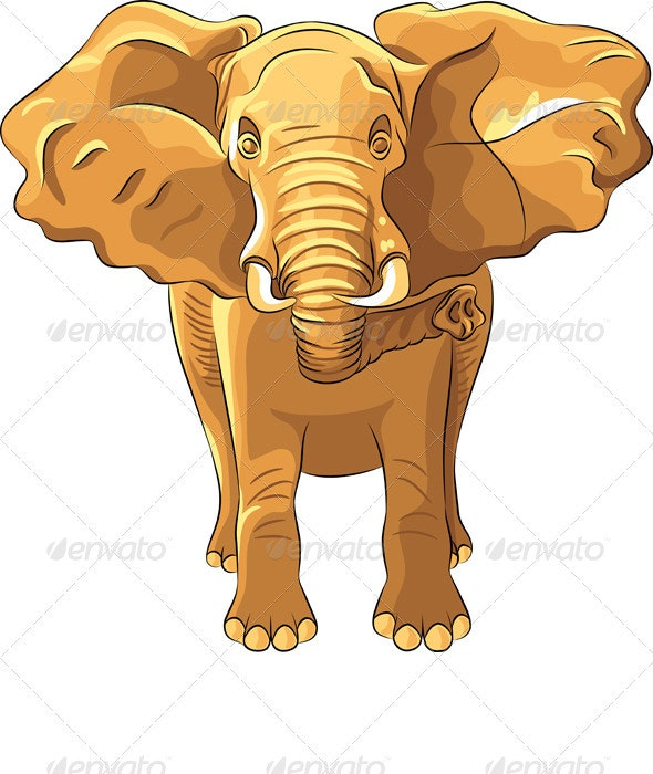 Vector red African elephant - Animals Characters