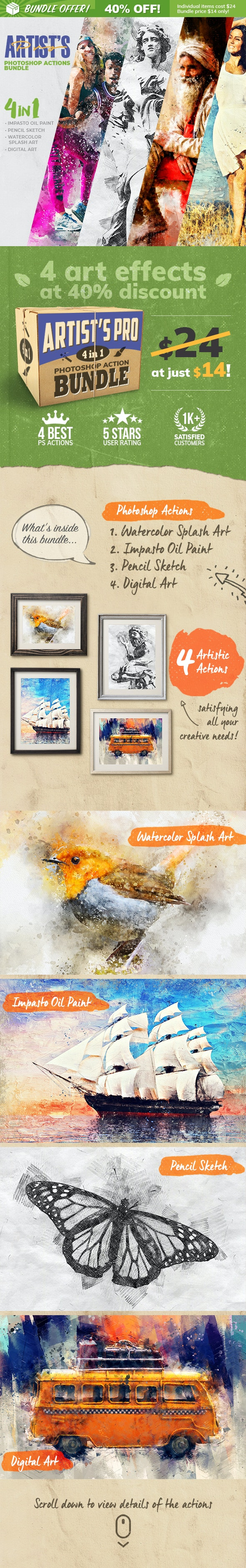 4-in-1 Artist's Pro Photoshop Action Bundle - Photo Effects Actions