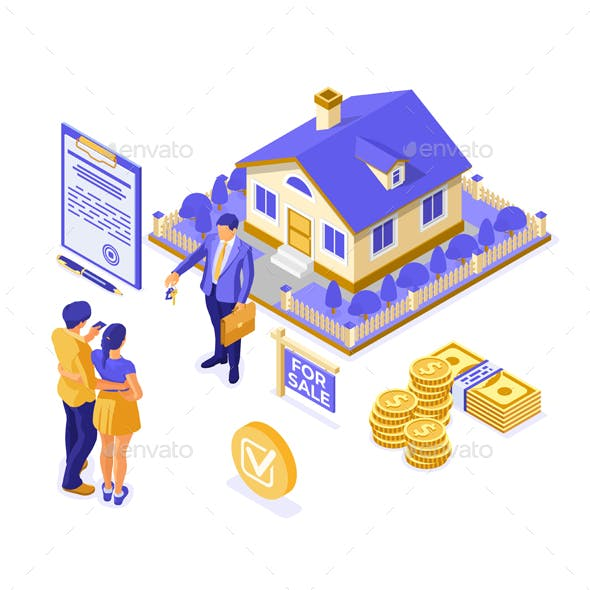 Sale, Purchase, Rent, Mortgage House Isometric