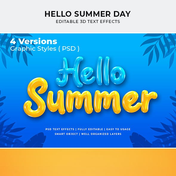 Hello Summer Day 3d Text Style Effect