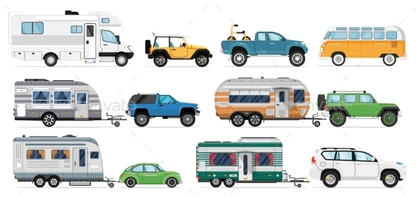 Camping Car Set By Studioworkstock Graphicriver