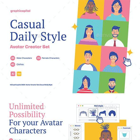 Casual Daily Style Avatar Creator Set