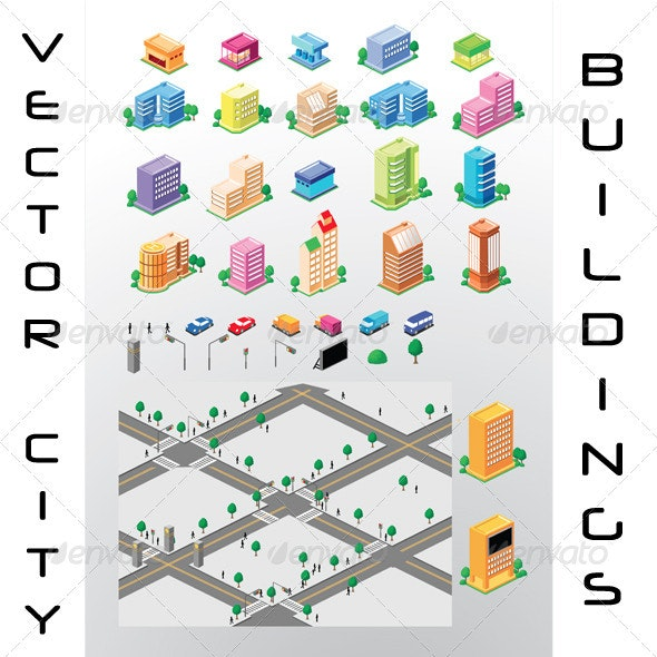 Vector Map Of City Detailed Buildings And Streets - Buildings Objects