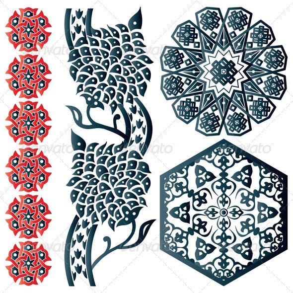 Blue and red Islamic design element - Decorative Symbols Decorative