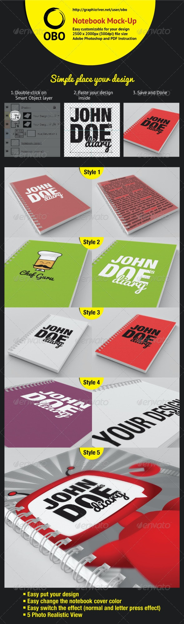 Notebook Mock-Up - Books Print