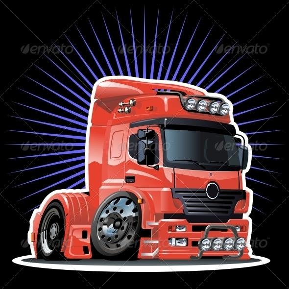 Vector Cartoon Semi Truck - Man-made Objects Objects