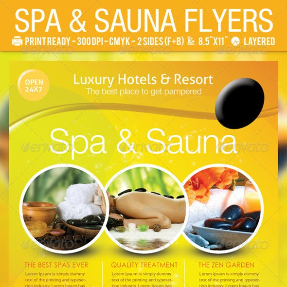 Spa & Sauna Flyers PSD Template