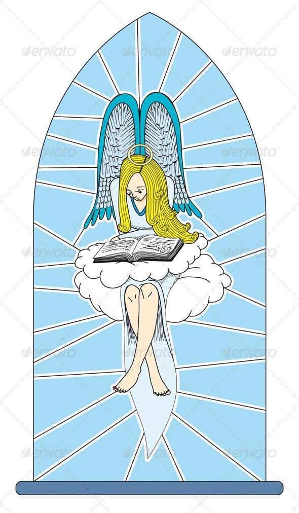 Angel Reading a Book - Characters Vectors