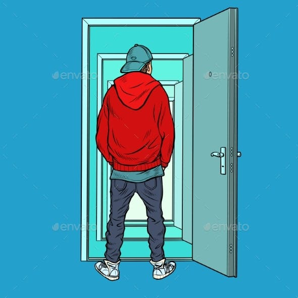 A Teenage Boy Stands on the Threshold of an Open