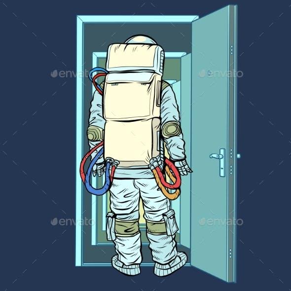 Astronaut Stands in Front of an Open Door. New