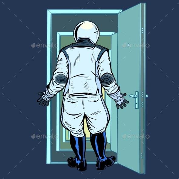 Modern Astronaut Stands in Front of an Open Door