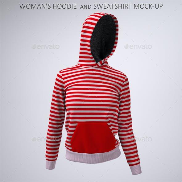 Woman's Hoodie and Sweatshirt Mock-Up