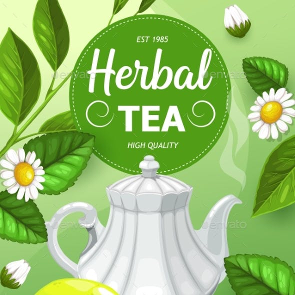 Herbal Tea with Chamomile and Mint Leaves