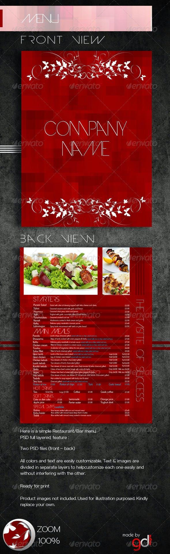 Restaurant/Bar menu PSD Template