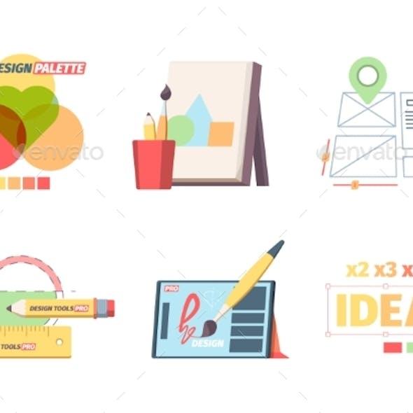 Designer Graphic Tools Set. Creative Color
